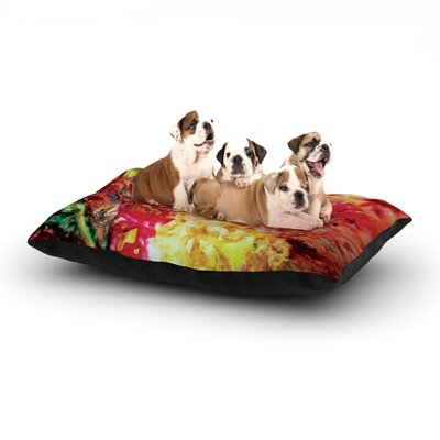 Mary Bateman Passion Flowers Dog Pillow with Fleece Cozy Top Size: Large (50 W x 40 D x 8 H), Color: Yellow/Pink/Orange