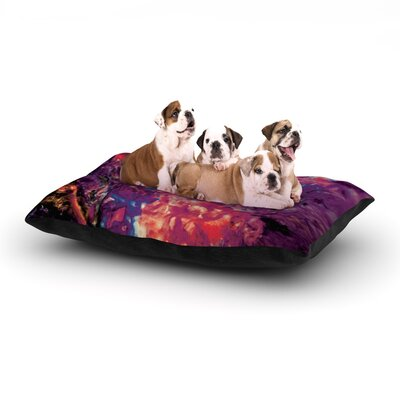 Mary Bateman Passion Flowers Dog Pillow with Fleece Cozy Top Size: Large (50 W x 40 D x 8 H), Color: Purple/Red
