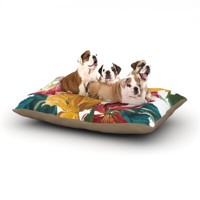 Lydia Martin Flower Power Floral Dog Pillow with Fleece Cozy Top Size: Large (50 W x 40 D x 8 H)