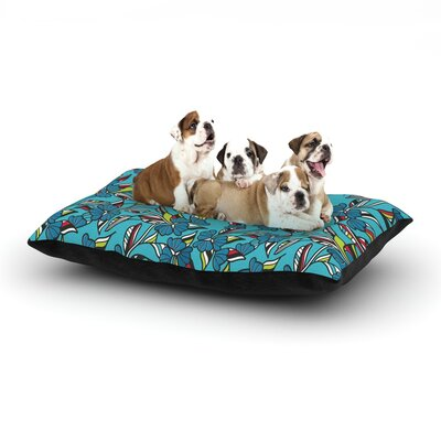 Michelle Drew Paper Leaf Dog Pillow with Fleece Cozy Top Size: Small (40 W x 30 D x 8 H), Color: Blue