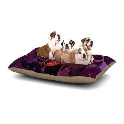 Matt Eklund Galactic Brilliance Geometric Dog Pillow with Fleece Cozy Top Size: Small (40 W x 30 D x 8 H), Color: Magenta/Pink/Purple