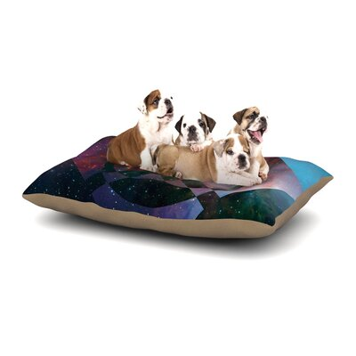 Matt Eklund Galactic Radiance Dog Pillow with Fleece Cozy Top Color: Blue/Purple, Size: Small (40 W x 30 D x 8 H)