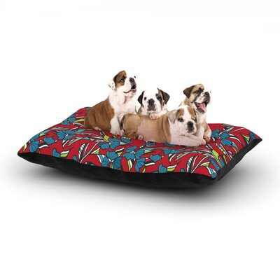 Michelle Drew Paper Leaf Dog Pillow with Fleece Cozy Top Size: Large (50 W x 40 D x 8 H), Color: Red