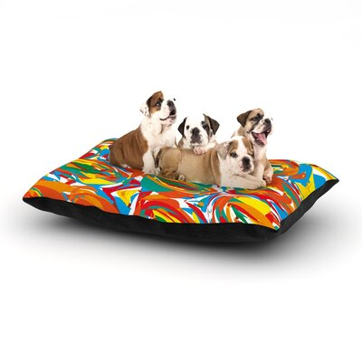 Matthias Hennig Go Left Dog Pillow with Fleece Cozy Top Color: Orange/Yellow/Blue, Size: Large (50 W x 40 D x 8 H)