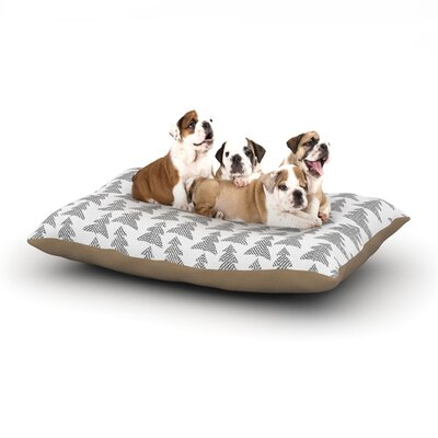 Michelle Drew Herringbone Forest Dog Pillow with Fleece Cozy Top Size: Large (50 W x 40 D x 8 H), Color: Black/Gray/White