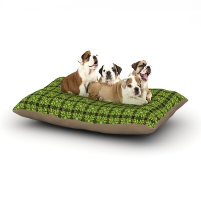 Matthias Hennig Floral Green Floral Geometric Dog Pillow with Fleece Cozy Top Size: Small (40 W x 30 D x 8 H)