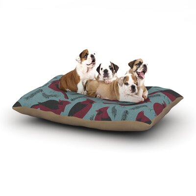 Michelle Drew Red Winter Birds Dog Pillow with Fleece Cozy Top Size: Small (40 W x 30 D x 8 H)
