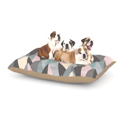 Michelle Drew Mountain Peaks Dog Pillow with Fleece Cozy Top Size: Small (40 W x 30 D x 8 H), Color: Pastel Gray/Pastel Pink