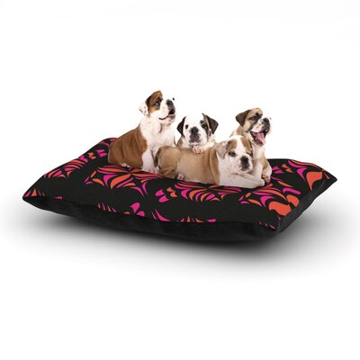 Miranda Mol Orange on Black Tile Dog Pillow with Fleece Cozy Top Size: Large (50 W x 40 D x 8 H)