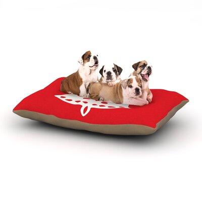 Miranda Mol Jingle Bell Red Holiday Dog Pillow with Fleece Cozy Top Size: Small (40 W x 30 D x 8 H)