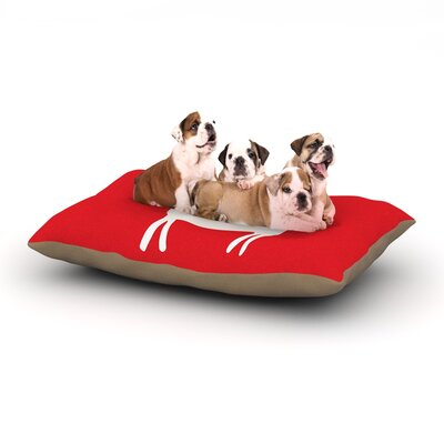 Miranda Mol Reindeer Red Holiday Dog Pillow with Fleece Cozy Top Size: Large (50 W x 40 D x 8 H)