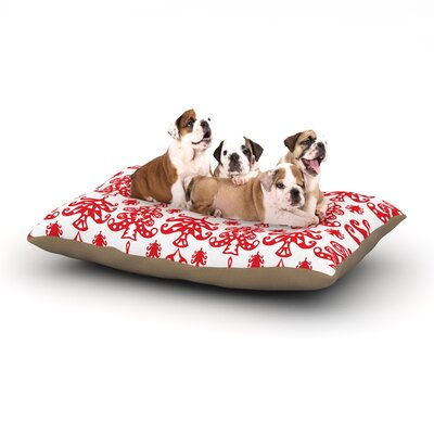 Miranda Mol Ornate Trees Holiday Dog Pillow with Fleece Cozy Top Size: Large (50 W x 40 D x 8 H), Color: White