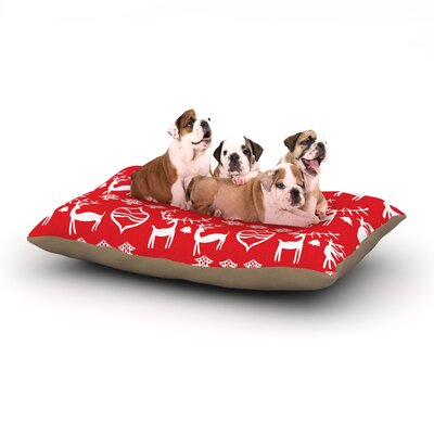 Miranda Mol Antler Fun Red Holiday Dog Pillow with Fleece Cozy Top Size: Large (50 W x 40 D x 8 H)