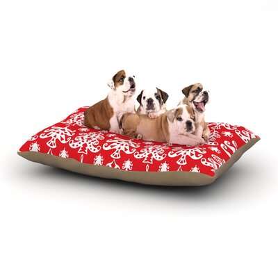 Miranda Mol Ornate Trees Holiday Dog Pillow with Fleece Cozy Top Size: Small (40 W x 30 D x 8 H), Color: Red