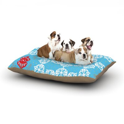 Miranda Mol Frosted White Holiday Dog Pillow with Fleece Cozy Top Size: Small (40 W x 30 D x 8 H)