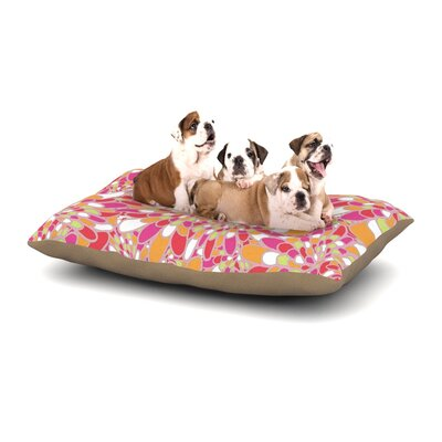 Miranda Mol Flourishing Geometric Dog Pillow with Fleece Cozy Top Size: Small (40 W x 30 D x 8 H), Color: Pink/Orange