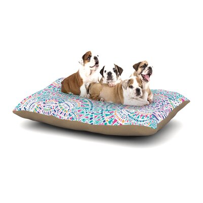 Miranda Mol Kaleidoscopic Dog Pillow with Fleece Cozy Top Size: Small (40 W x 30 D x 8 H), Color: White/Aqua