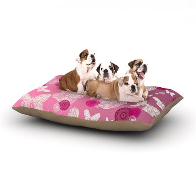 Monika Strigel Butterfly Dreams Dog Pillow with Fleece Cozy Top Size: Large (50 W x 40 D x 8 H), Color: Pink/Magenta