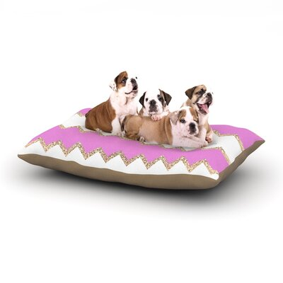 Dempsey Monika Strigel Avalon Chevron Dog Pillow with Fleece Cozy Top Size: Small (40 W x 30 D x 8 H), Color: Pink/White