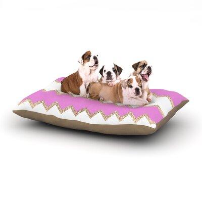 Dempsey Monika Strigel Avalon Chevron Dog Pillow with Fleece Cozy Top Size: Large (50 W x 40 D x 8 H), Color: Pink/White