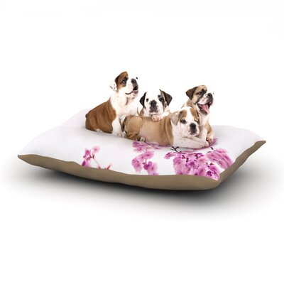 Monika Strigel Cherry Sakura Floral Nature Dog Pillow with Fleece Cozy Top Size: Large (50 W x 40 D x 8 H), Color: Pink