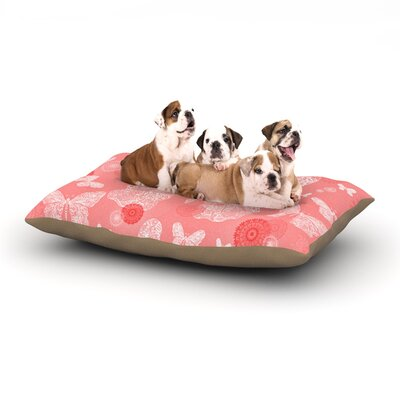 Monika Strigel Butterfly Dreams Dog Pillow with Fleece Cozy Top Color: Coral/Pink/White, Size: Large (50 W x 40 D x 8 H)