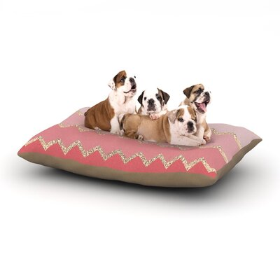 Monika Strigel Avalon Chevron Dog Pillow with Fleece Cozy Top Color: Coral/Pink, Size: Large (50 W x 40 D x 8 H)