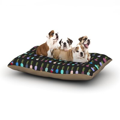 Monika Strigel Pineapple People Dog Pillow with Fleece Cozy Top Size: Small (40 W x 30 D x 8 H), Color: Black/Multi