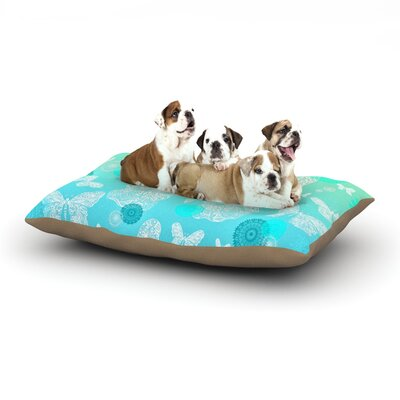 Monika Strigel Butterfly Dreams Dog Pillow with Fleece Cozy Top Size: Small (40 W x 30 D x 8 H), Color: Mint/Aqua/Teal