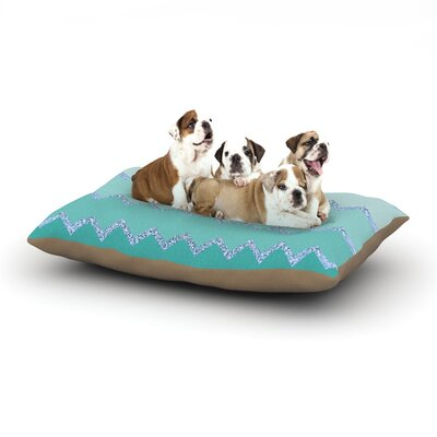 Monika Strigel Avalon Chevron Dog Pillow with Fleece Cozy Top Size: Large (50 W x 40 D x 8 H), Color: Mint/Aqua/Green