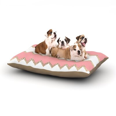 Dempsey Monika Strigel Avalon Chevron Dog Pillow with Fleece Cozy Top Size: Small (40 W x 30 D x 8 H), Color: Coral/White