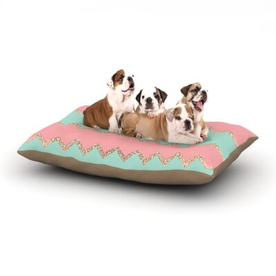 Dempsey Monika Strigel Avalon Chevron Dog Pillow with Fleece Cozy Top Size: Large (50 W x 40 D x 8 H), Color: Orange/Green