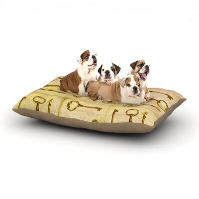 Marianna Tankelevich Secret Keys Dog Pillow with Fleece Cozy Top Color: Tan/Brown, Size: Small (40 W x 30 D x 8 H)