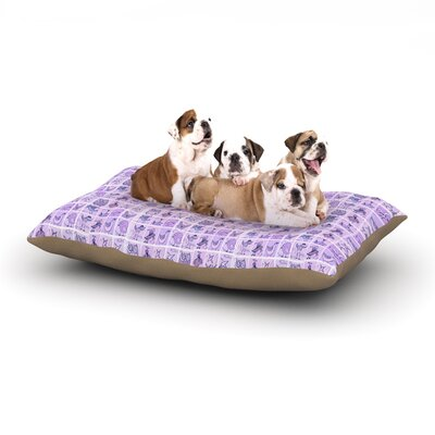 Marianna Tankelevich Cute Birds Grid Dog Pillow with Fleece Cozy Top Size: Small (40 W x 30 D x 8 H), Color: Purple