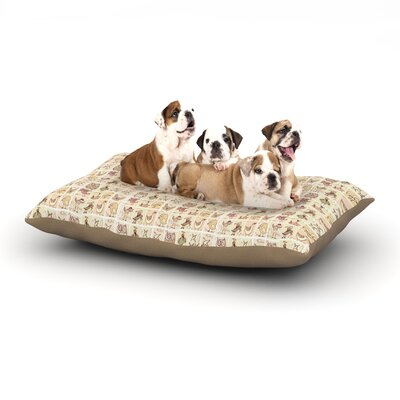 Marianna Tankelevich Cute Birds Grid Dog Pillow with Fleece Cozy Top Size: Small (40 W x 30 D x 8 H), Color: Tan