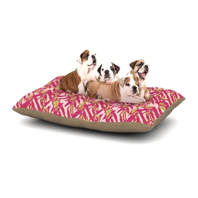 Nandita Singh Abstract Print Pink Dog Pillow with Fleece Cozy Top Size: Large (50 W x 40 D x 8 H)