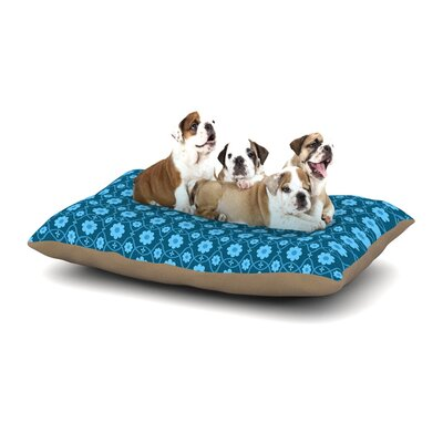 Nandita Singh Floral Dog Pillow with Fleece Cozy Top Size: Large (50 W x 40 D x 8 H), Color: Blue/Aqua