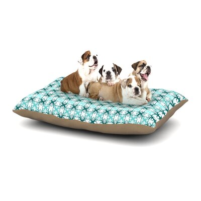 Nandita Singh Blue Motifs Geometric Dog Pillow with Fleece Cozy Top Size: Large (50 W x 40 D x 8 H)