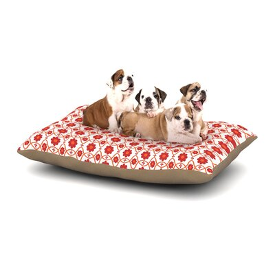 Nandita Singh Floral Dog Pillow with Fleece Cozy Top Size: Large (50 W x 40 D x 8 H), Color: Red