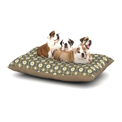 Nandita Singh Floral Dog Pillow with Fleece Cozy Top Size: Large (50 W x 40 D x 8 H), Color: Gray/Brown