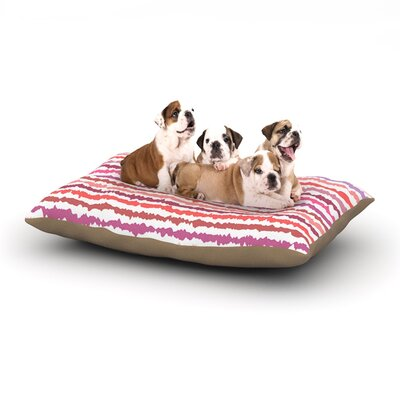 Nandita Singh Blush Stripes Striped Dog Pillow with Fleece Cozy Top Size: Large (50 W x 40 D x 8 H)