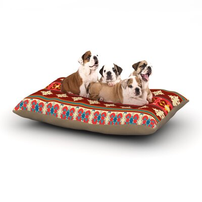 Nandita Singh Borders Dog Pillow with Fleece Cozy Top Size: Large (50 W x 40 D x 8 H), Color: Red/Maroon