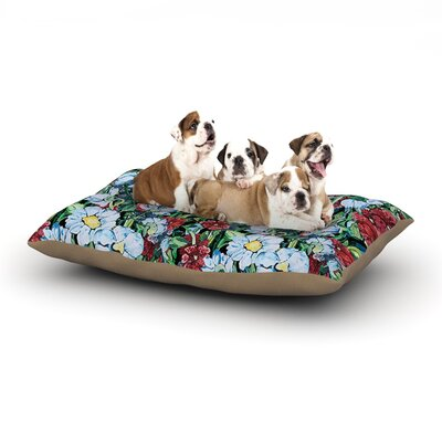 DLKG Design Giardino Garden Flowers Dog Pillow with Fleece Cozy Top Size: Small (40 W x 30 D x 8 H)