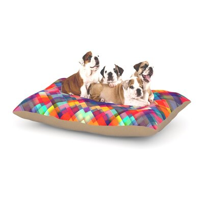 Danny Ivan Squares Everywhere Shapes Dog Pillow with Fleece Cozy Top Size: Small (40 W x 30 D x 8 H)