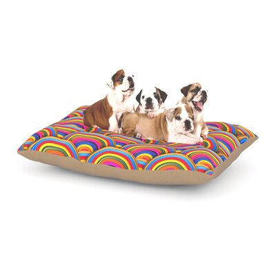 Danny Ivan Rainbows Dog Pillow with Fleece Cozy Top Size: Small (40 W x 30 D x 8 H)