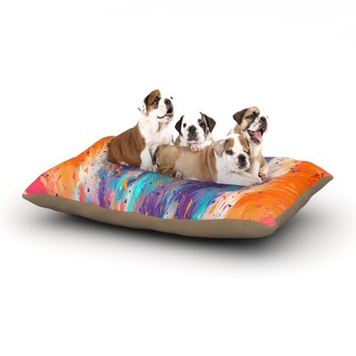Danny Ivan Colorful Fire Cool Fire Dog Pillow with Fleece Cozy Top Size: Large (50 W x 40 D x 8 H)