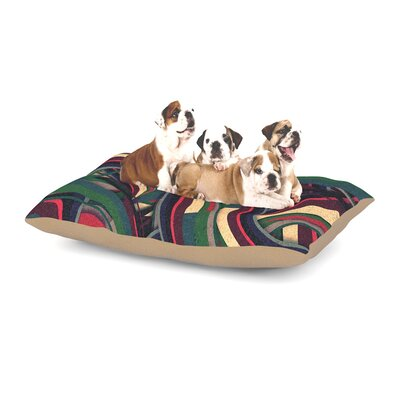 Danny Ivan Swirl Madness Dark Geometric Dog Pillow with Fleece Cozy Top Size: Small (40 W x 30 D x 8 H)