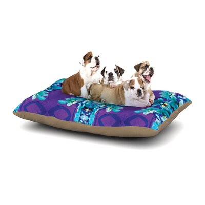 Dawid Roc Blue Orchids Floral Dog Pillow with Fleece Cozy Top Size: Small (40 W x 30 D x 8 H)