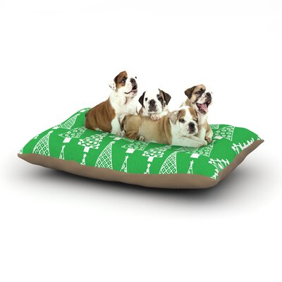Emine Ortega Jolly Trees Dog Pillow with Fleece Cozy Top Size: Large (50 W x 40 D x 8 H), Color: Green