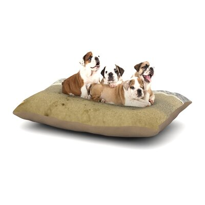 Debbra Obertanec Beach Heart Sand Coastal Dog Pillow with Fleece Cozy Top Size: Small (40 W x 30 D x 8 H)